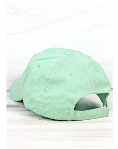 Lake Hat, Distressed Mint Green, Life Is Better At The Lake Cap