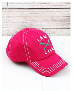 Lake Life Hat, Lake Hat, Distressed Hot Pink, Crystals and Oars, Lake Life Cap