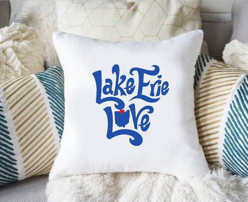 Lake Erie Love Pillow Cover, Lake Erie Pillow Cover, Lake Pillow Cover