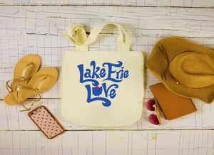 Lake Erie Love Canvas Bag, Lake Erie Canvas Tote, Lake Large Tote Bag