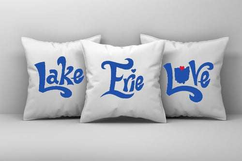 Lake Erie Love Pillow Cover, 3-piece set, Lake Erie Pillow Cover, Lake Pillow Cover