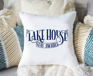 Lake Life Pillow Cover, Lake Pillow Cover, Lake House Stay Awhile Pillow Cover