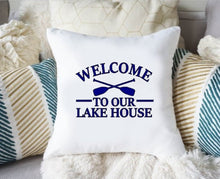 Load image into Gallery viewer, Lake Pillow Cover, Lake Life Pillow Cover, Welcome to Our Lake House Oars Pillow Cover