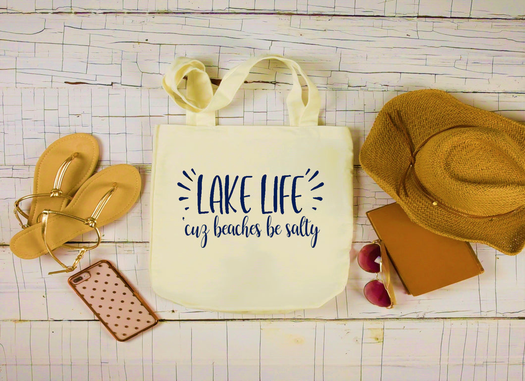Canvas Lake Bag, Large Tote Bag, Lake Life Beaches Be Salty Canvas Bag