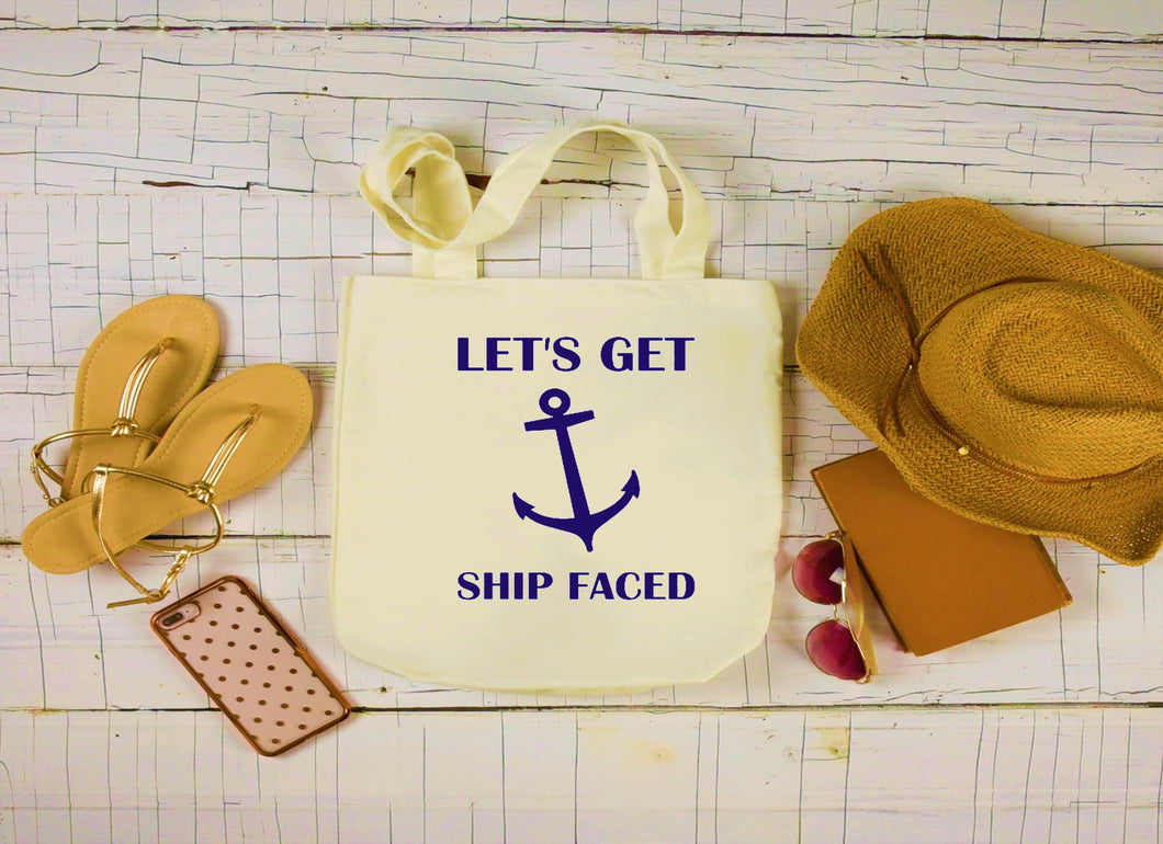 Canvas Boat Bag, Large Tote Bag, Let's Get Ship Faced Canvas Bag