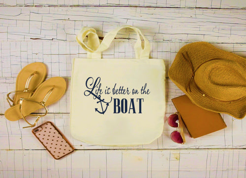 Canvas Boat Bag, Large Tote Bag, Life Is Better on the Boat Bag