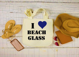 Canvas Beach Glass Bag, Large Tote Bag, I Love Beach Glass