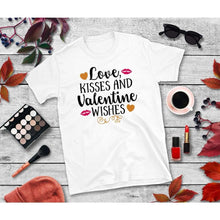 Load image into Gallery viewer, Love Kisses & Valentine Wishses Shirt Valentines Day T-Shirt