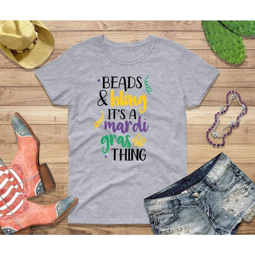 Mardi Gras Party Shirt for Women Beads and Bling It's a