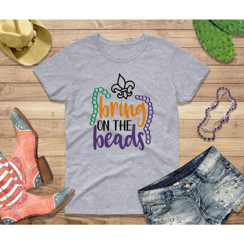 Mardi Gras Shirt Women Party Shirt Bring on the Beads