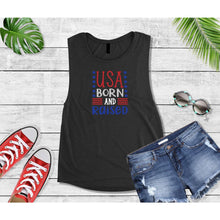 Load image into Gallery viewer, Patriotic Shirt 4th of July USA Born and Raised Shirt