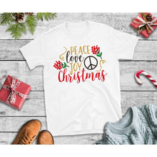 Load image into Gallery viewer, Peace Love Joy Christmas Shirt Christmas T-Shirt Holiday
