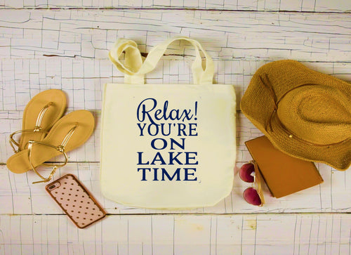 Canvas Lake Bag, Large Tote Bag, Relax You're on Lake Time Canvas Bag