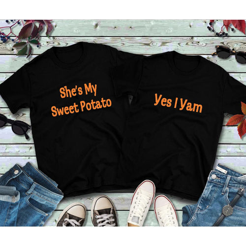 Thanksgiving Couples Shirts She's My Sweet Potato Yes I Yam