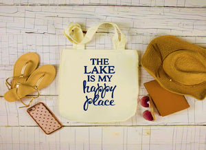 Canvas Lake Bag, Large Tote Bag, The Lake is My Happy Place Canvas Bag
