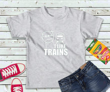Load image into Gallery viewer, I Like Trains Shirt, Boys T-Shirt, Kids Shirt - Lake Erie Goods