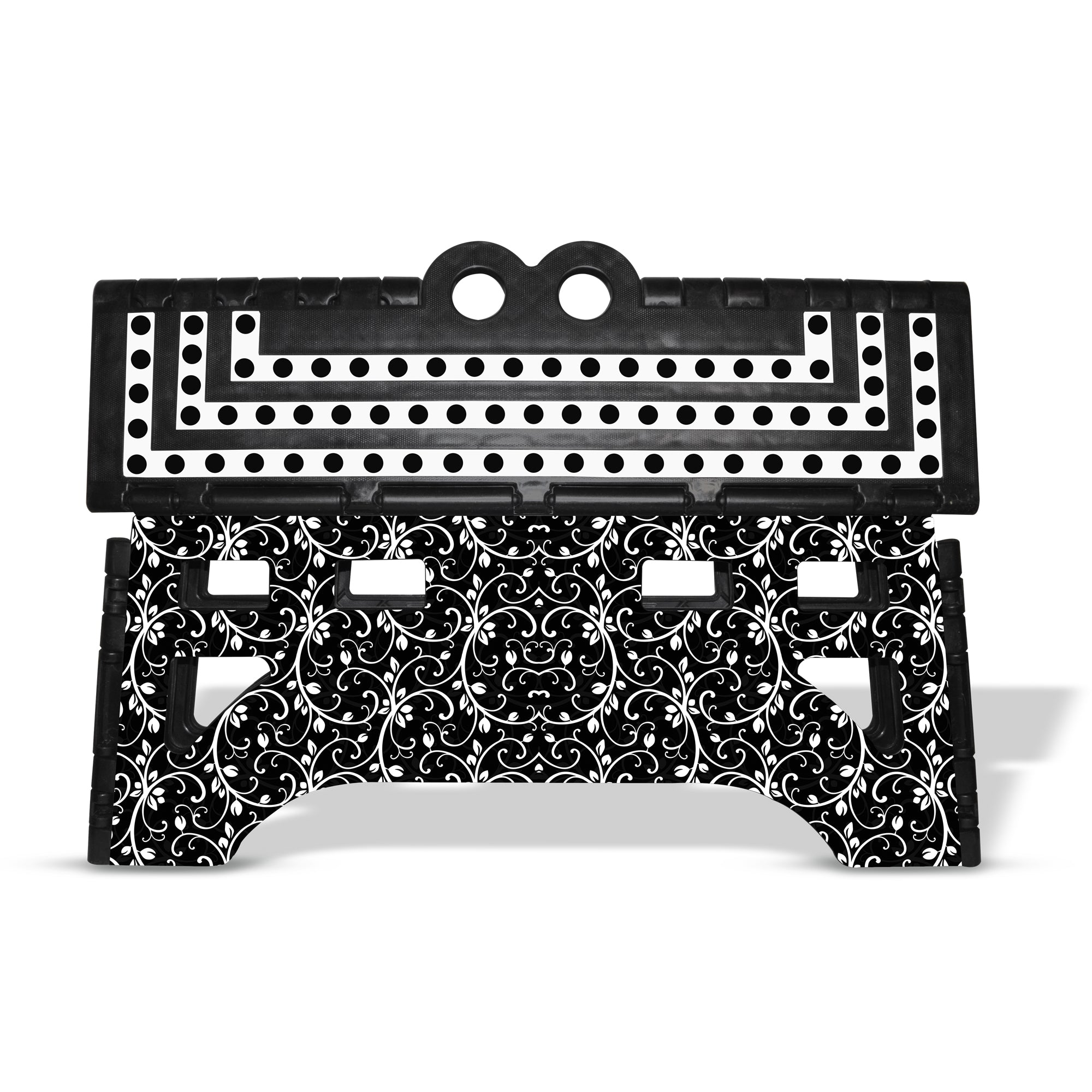 Marvelous Expace 20 Inch Extra Wide Folding Step Stool Black Floral Gmtry Best Dining Table And Chair Ideas Images Gmtryco