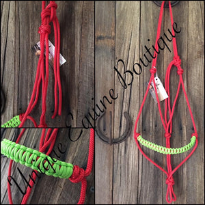 WB Size Rope Halter - Red with Fluro Green Noseband Braid - Made & Ready to go.