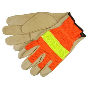 Pigskin High Vis Mesh Back Work Gloves