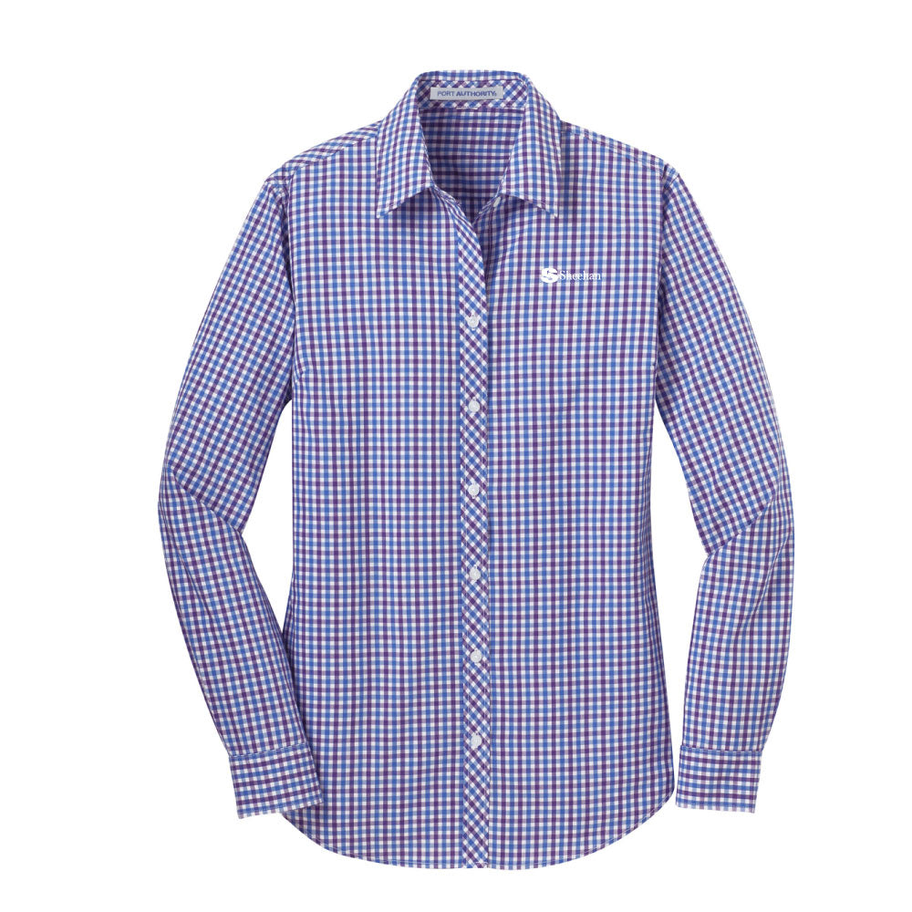 Port Authority Ladies Long Sleeve Gingham Easy Care Shirt