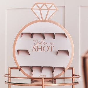 Rose Gold Bachelorette Party Drinks Shot Wall