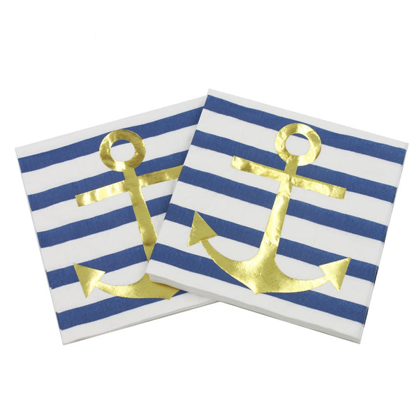"bridal shower bachelorette napkins blue gold anchor ""I Do Crew"" them"