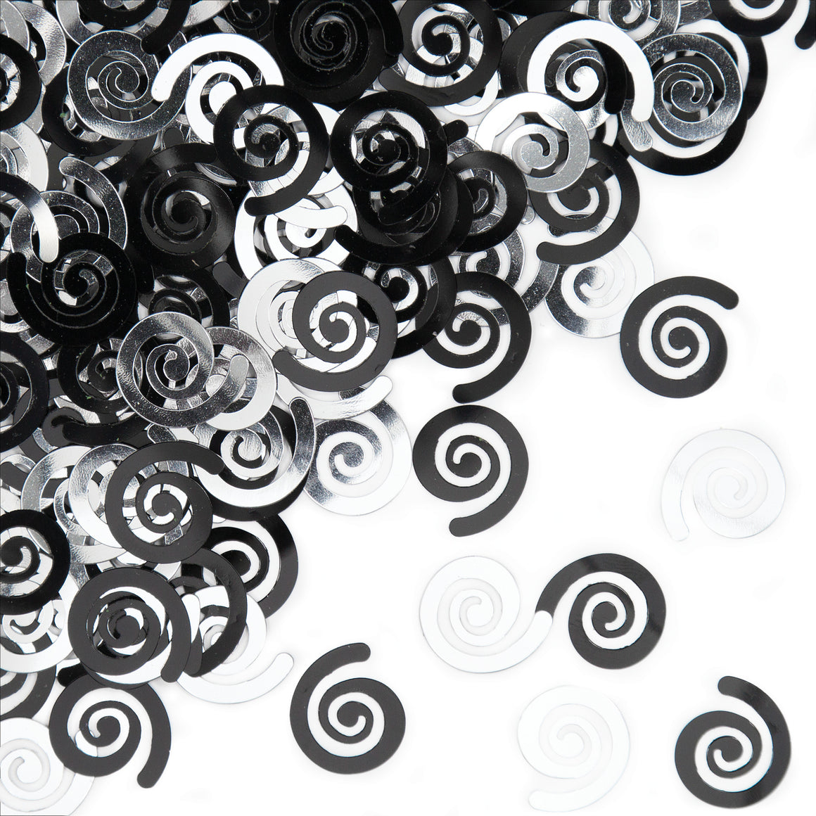 Black and Silver Swirl Confetti