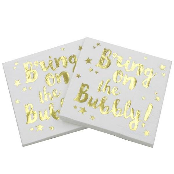 bachelorette bubbly napkins bridal shower canada
