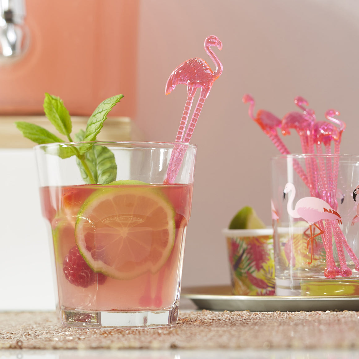 Flamingo bachelorette drink stir sticks