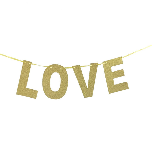 Gold sparkly Love banner