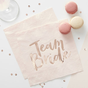 Team Bride - bachelorette rose gold napkins