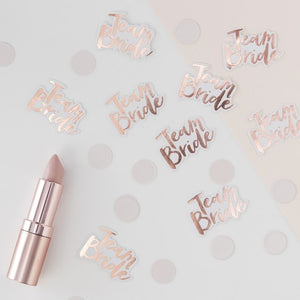 team bride rose gold bachelorette confetti toronto