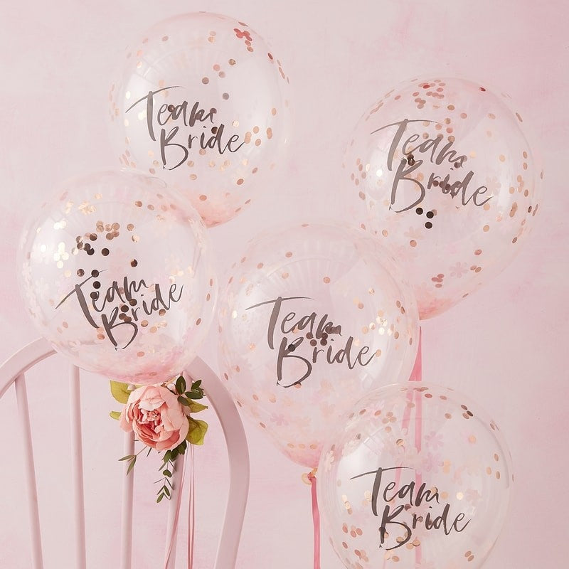 Team Bride rose gold confetti bachelorette balloons