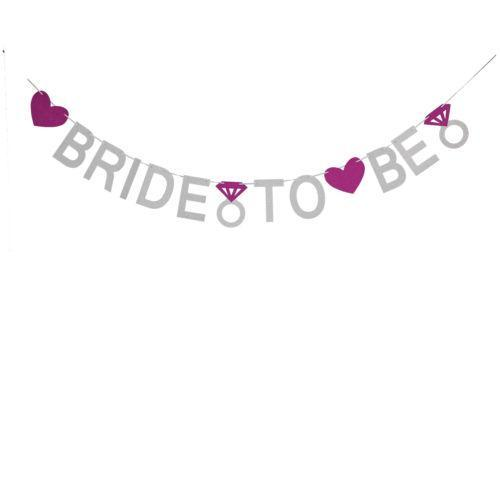 Bride to be Banner - silver & pink