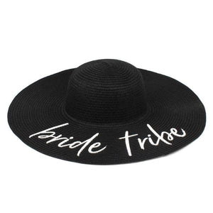 Bride Tribe Sun Hat - black