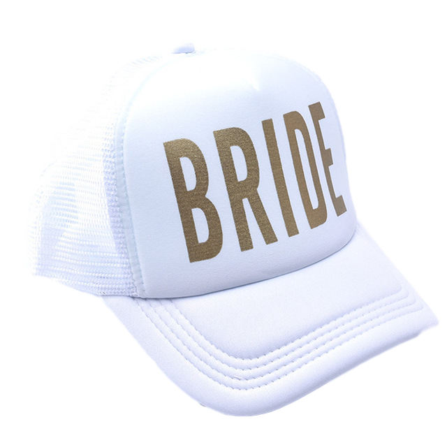 white bride hat bachelorette trucker mesh back