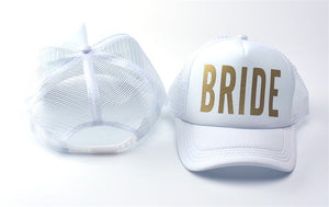 white hat mesh trucker gold bride bachelorette