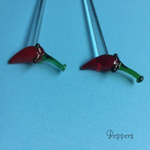 handmade glass stir stick chili pepper