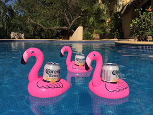 Mini inflatable floating Pink Flamingo cup holder
