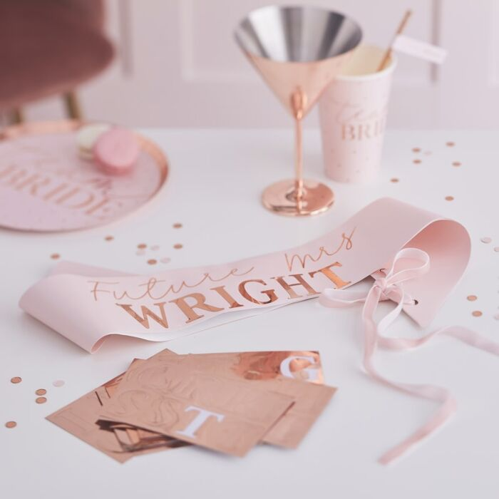 Rose gold bachelorette sash customize