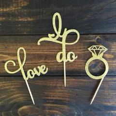 gold bachelorette bridal shower cupcake toppers