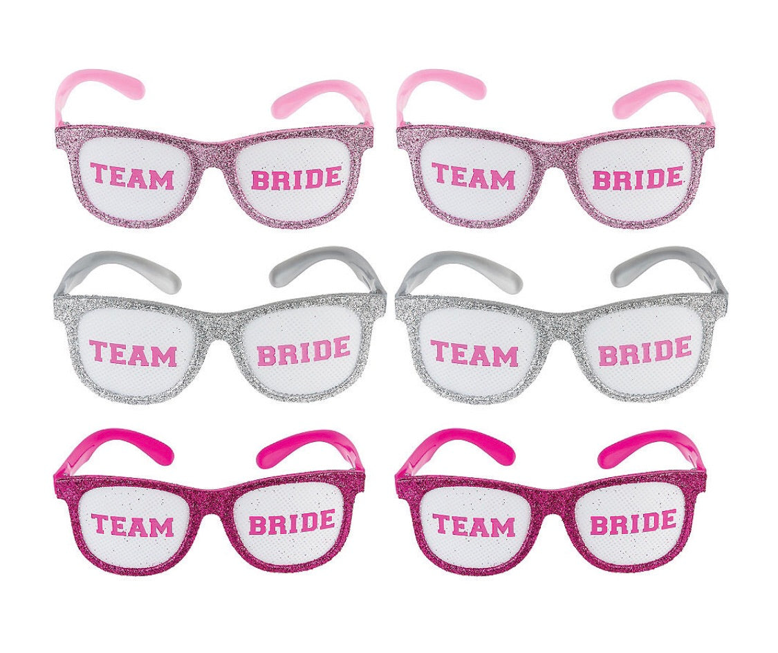 Team bride sparkly photo prop glasses - 6 pack