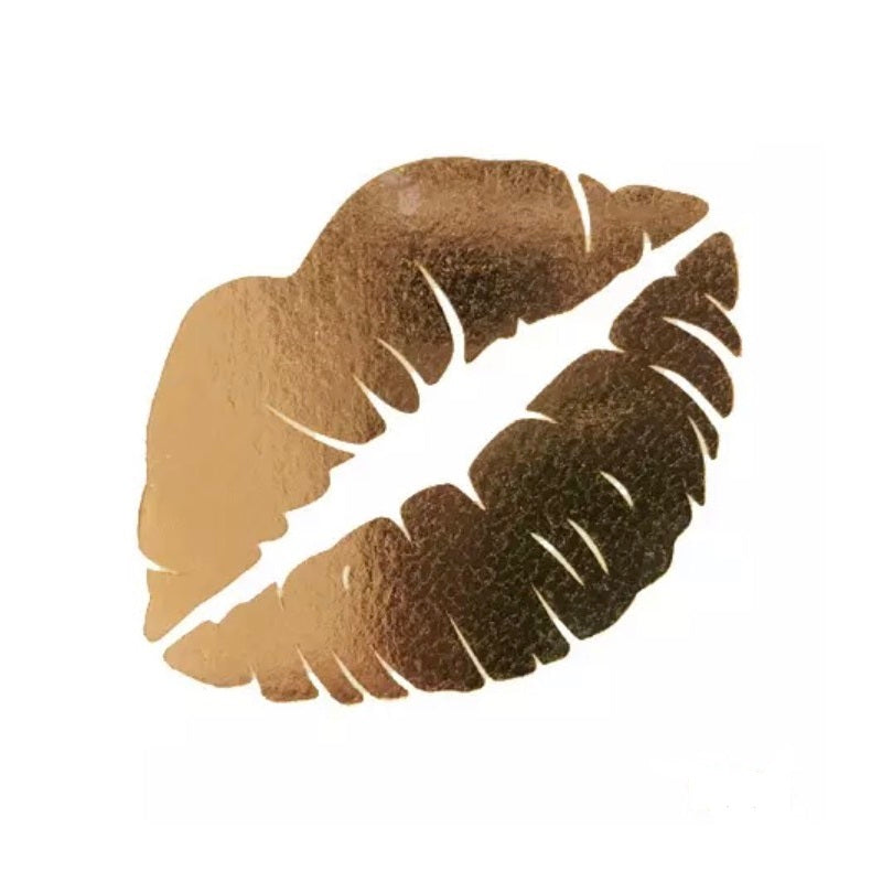 Gold kiss temporary tattoos - 5 pack