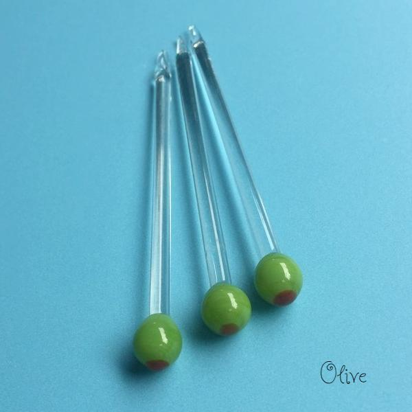 handmade glass stir stick - olive