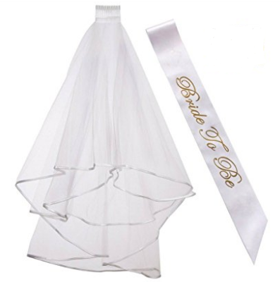 White veil bride to be sash bachelorette