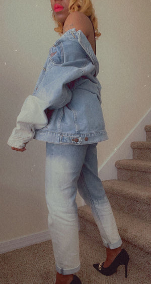 Acid wash Mom Jeans and Jean Jacket (sold separately)