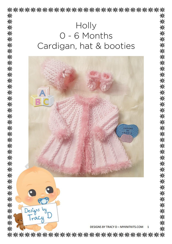Holly Baby Knitting Pattern 0-6 & 12mths - Download - Designs By Tracy D