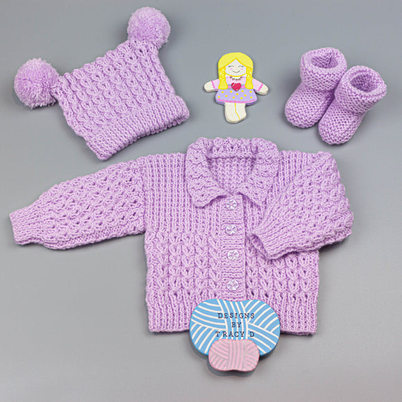 Skye  0-3/3-6mth Baby Knitting Pattern - Download - Designs By Tracy D