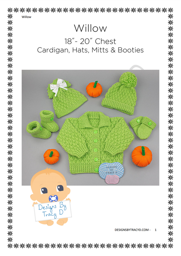 Willow Unisex Baby Knitting Pattern  18-20