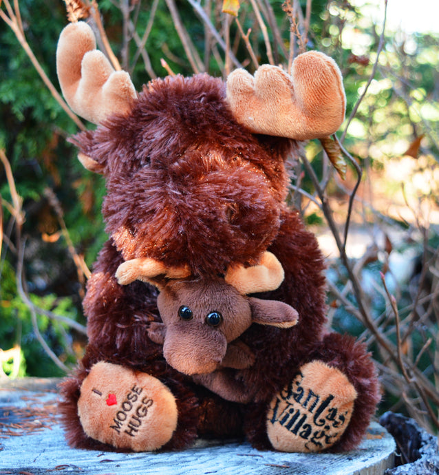 Sitting Moose with Baby